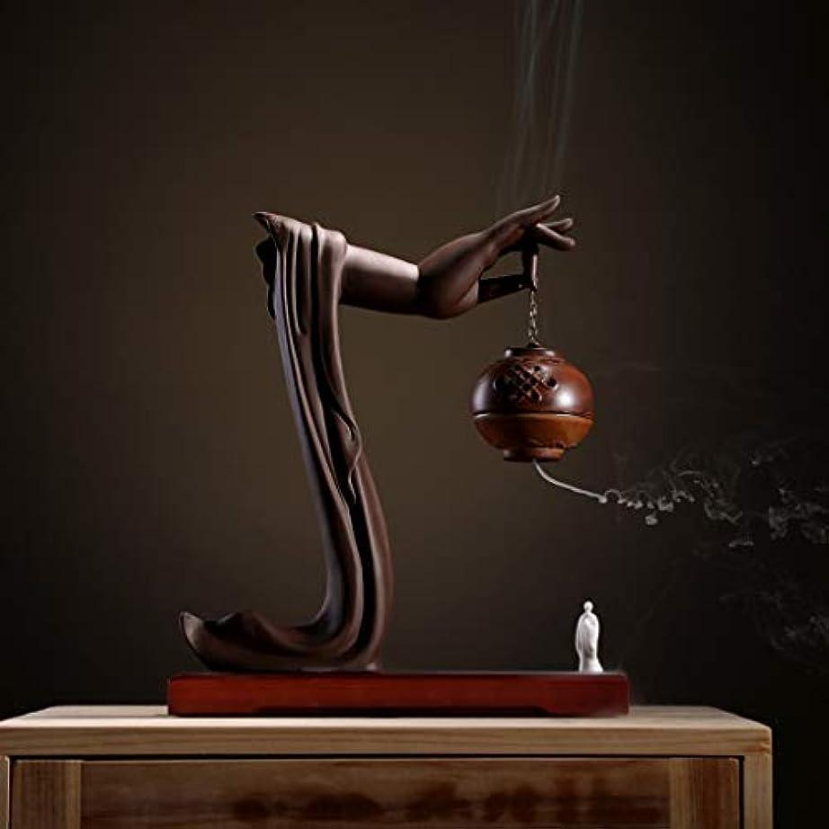 サスペンション競う症状手動逆流香バーナーロータス/僧侶逆流香バーナーコーンコーンブラケットホームデスクトップの装飾L28cm×W9.5cm×H33cm (Color : Brown incense burner)