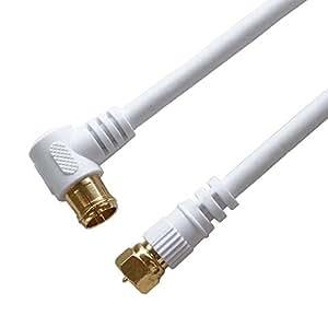 HORIC アンテナケーブル S4CFB同軸 1.0m F型差込式/ネジ式コネクタ L字/ストレートタイプ HAT10-919LS