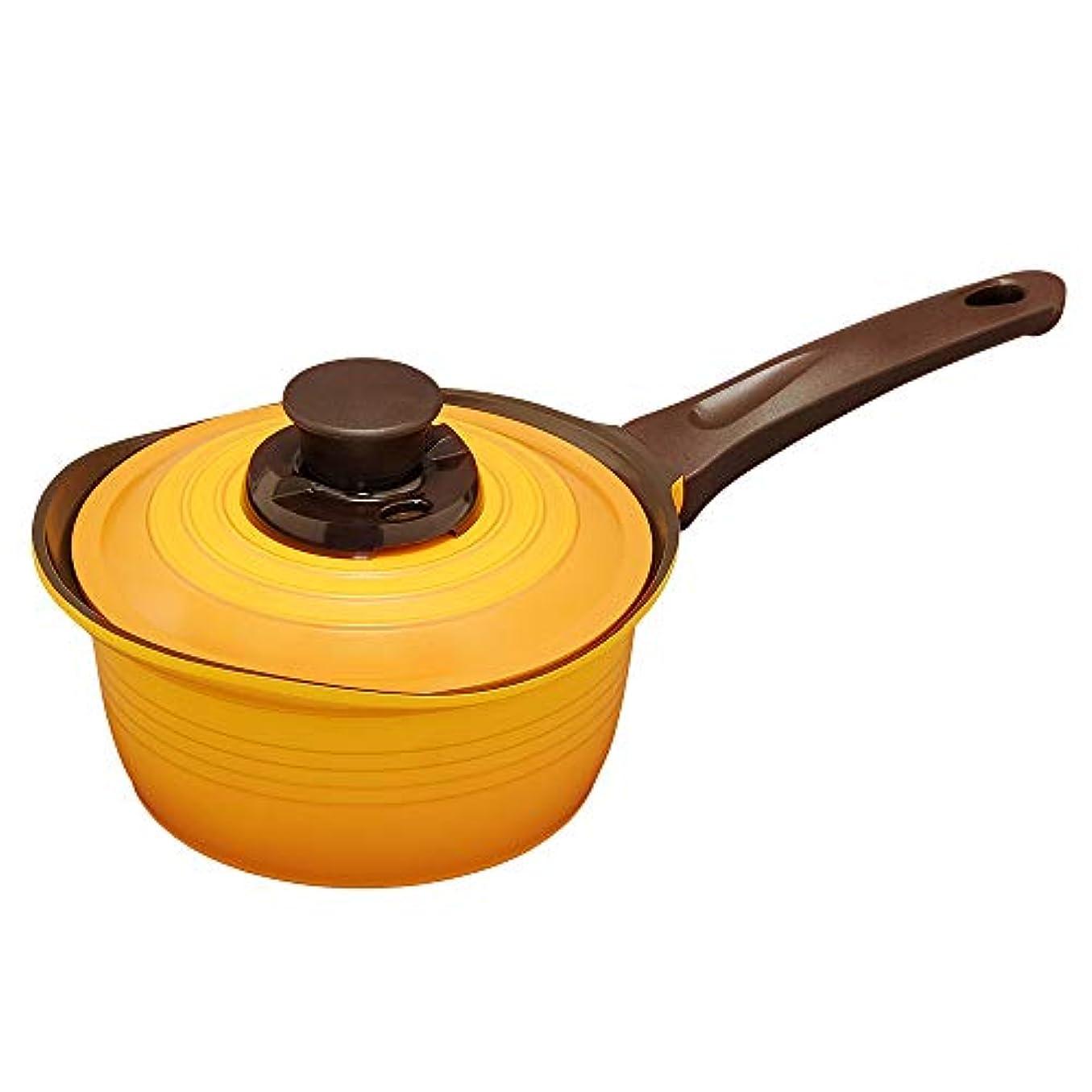 日光マークダウン写真を描くアイリスオーヤマ 鍋 無加水鍋 片手鍋 IH対応 イエロー 18㎝  KMKS-18