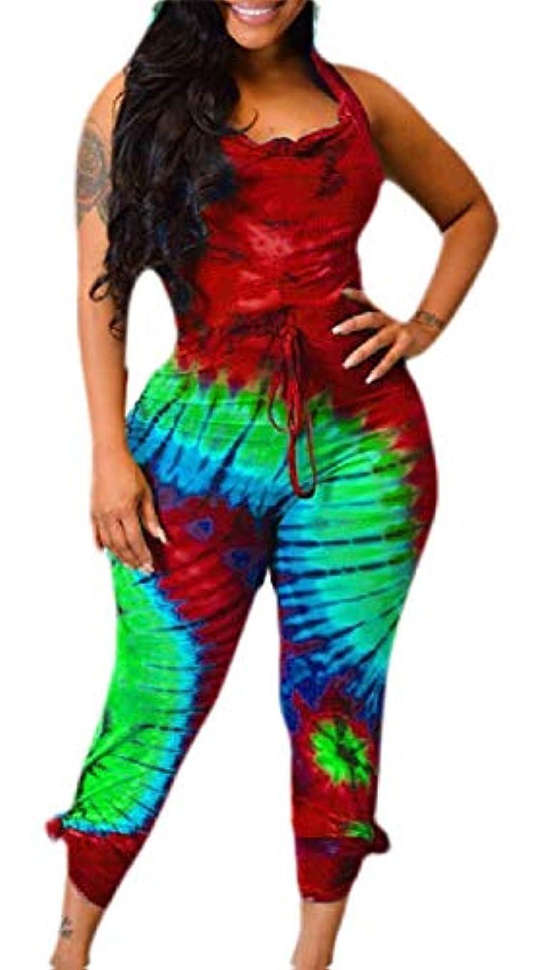 受取人火山の車両Keaac Women Summer Tie Dye Hoodie Jumpsuits Night Sexy Jumpsuit Rompers