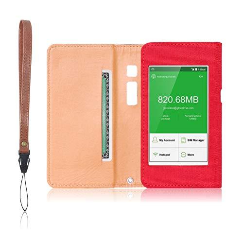 GlocalMe G3 専用 モバイルルーター ケース 保護フィルム 付 (レッド)