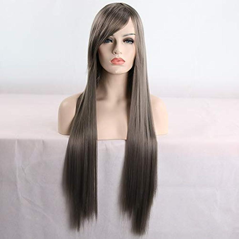 優れたトレイルテーマ女性用ロングナチュラルストレートヘアウィッグ31インチ人工毛替えウィッグハロウィンコスプレ衣装アニメパーティーウィッグ(ウィッグキャップ付き) (Color : Gray)