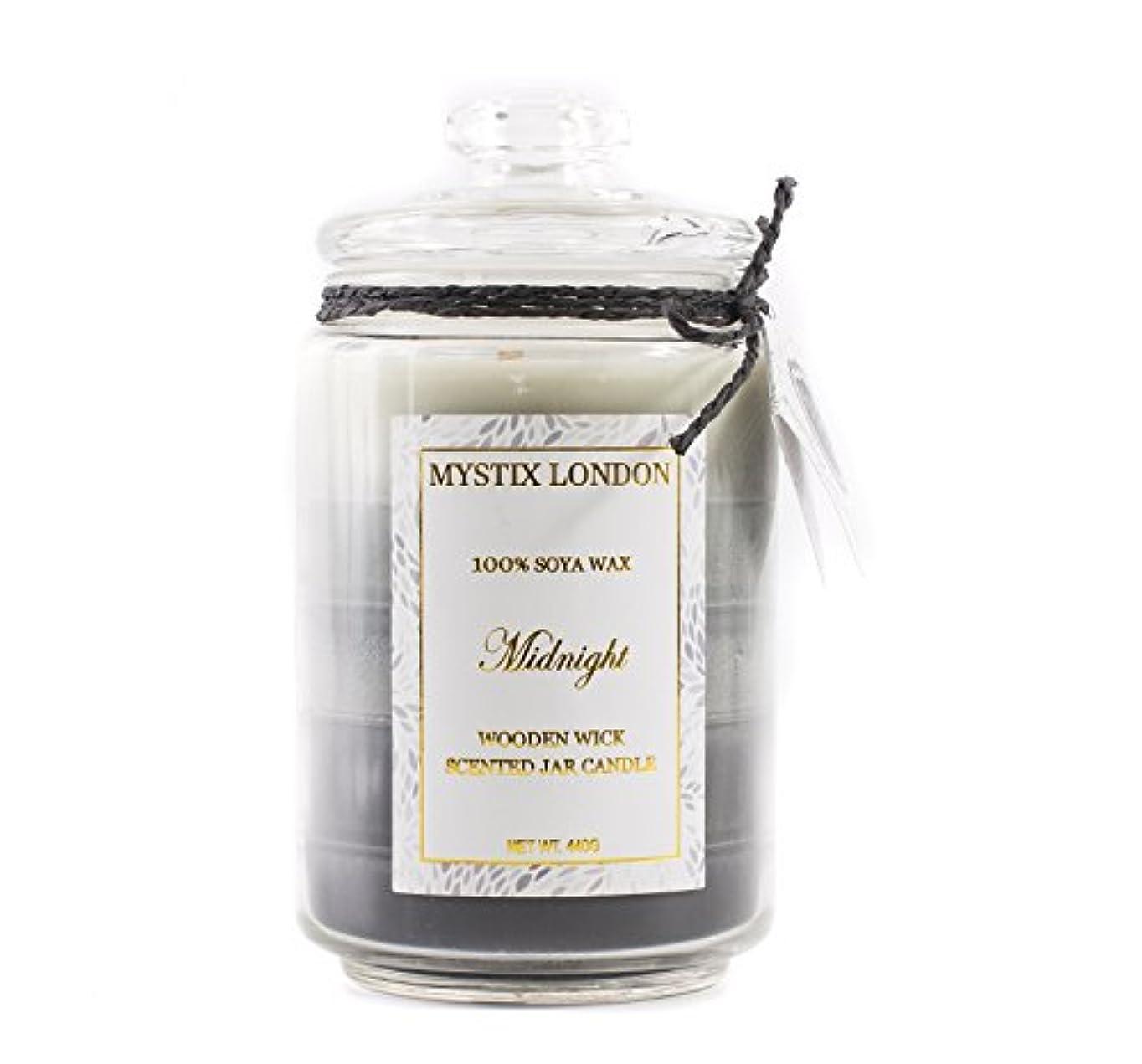 チート水星実現可能性Mystix London Midnight Wooden Wick Scented Jar Candle 440g