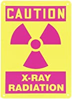 Accuform Signs MRAD702VP Plastic Safety Sign Legend CAUTION X-RAY RADIATION with Graphic 14 Length x 10 Width x 0.055 Thickness Magenta on Yellow [並行輸入品]