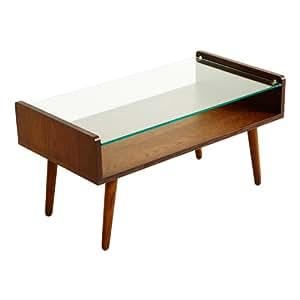 LOWYA (ロウヤ) テーブル ローテーブル ガラス&木製 収納棚付き ブラウン おしゃれ