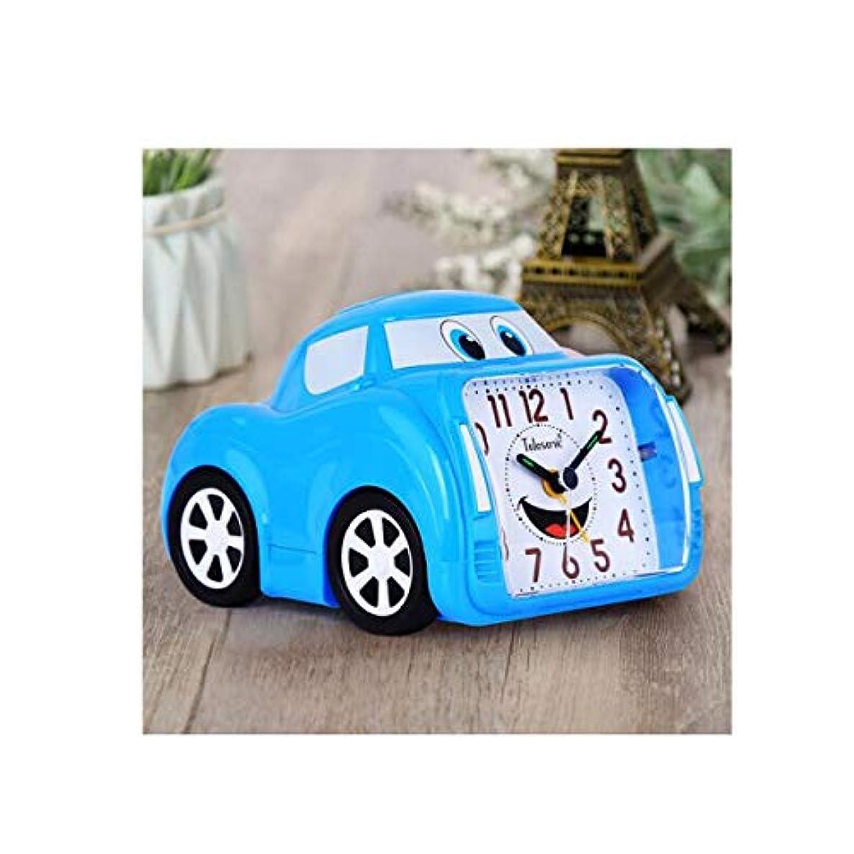 猫背熟練した早熟Qiyuezhuangshi001 目覚まし時計、クリエイティブ子供部屋、サイレントベッドサイド時計、スタイリッシュな個性車の目覚まし時計、リビングルーム用おもちゃの目覚まし時計、青、 材料の安全性 (Color : Blue)