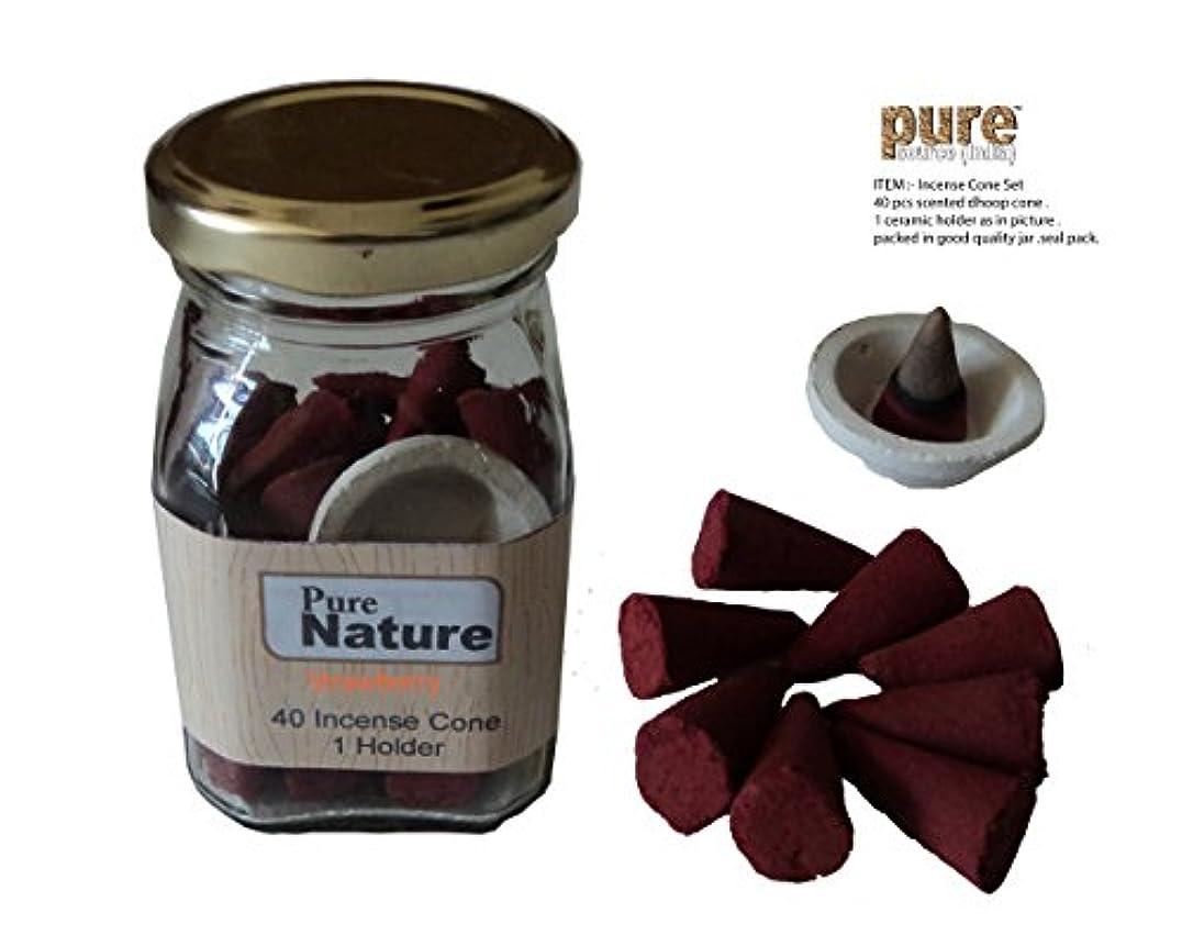 不公平ボトル花輪Pure Source India. 香り付き(STRAWBERRY) お香 ドープコーン 40個 & セラミック製 かわいいスタンドパック 四角形のガラスジャー入り (ストロベリー)