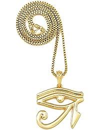 Gwoodホルスの目ゴールド色エジプトペンダント30インチネックレスボックススタイルチェーン