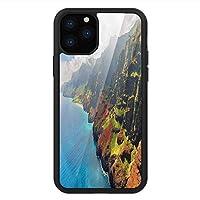 iPhone 11 Pro Max 用 強化ガラスケース クリア 薄型 耐衝撃 黒 カバーケース ハワイアン カウアイ島・ウォーター・サンシャインズ・フォギー雲景パノラマ ブルーグリーンブラウン iPhone 11 Pro 2019用 iPhone11 Pro Maxケース用
