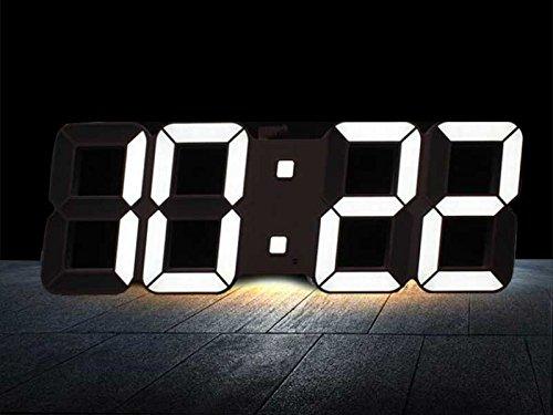 LEDデジタル 壁掛け時計 リモコン付 温度表示(本体ブラック×LEDホワイト)