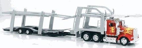 ケンワース W900 オートトランスポーター【New Ray】【レッド/シルバー】1/43 積載車