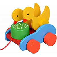 素敵な木製プッシュ&玩具はプル一緒にワゴン車リトルアヒルプル
