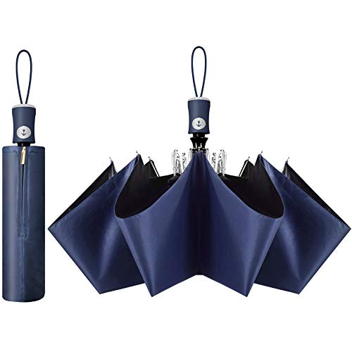 Cuby ハイグレード版 新世代革新的な骨 日傘 晴雨兼用 ワンタッチ 自動開閉 軽量 uvカット 紫外線遮蔽率99% 耐風撥水 携帯しやすい レディース メンズ ブラックコーティング 折り畳み傘 紺色