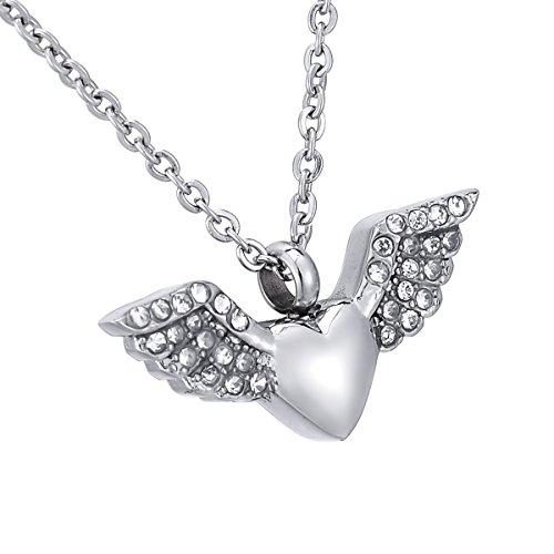 [해외]HooAMI 수중 공양 기념 펜던트 스테인리스 목걸이 유골 펜던트 모조 다이아몬드 천사 날개 & 하트 방수 중공 기념 펜던트 16mmx35mm-1 개/HooAMI hand memorial memorial pendant stainless steel necklace ashes ished pendant rhinestone angel wi...