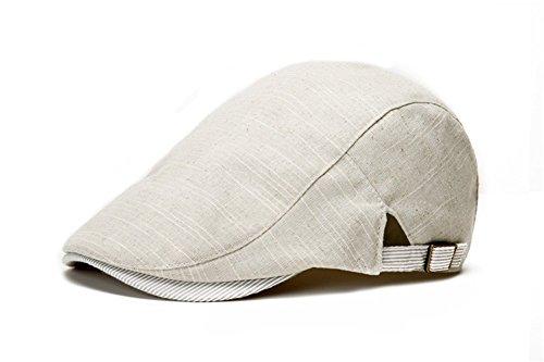 SGFY 春、夏 ハンチング帽子 棉麻 アウトドア用 旅行用 カジュアル 純色 帽子 (ベージュ&ホワイト)