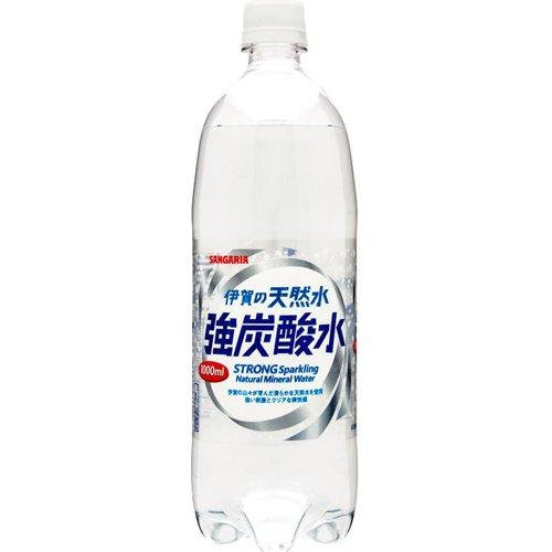 サンガリア 伊賀の天然水 強炭酸水 ペット 1Lx12本