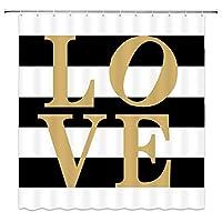 ゴールデンラブシャワーカーテンクラシック黒と白のストライプの装飾生地バスルームカーテン、フック付き防水ポリエステル 180X180 CM