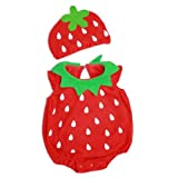 【帽子付 イチゴ ロンパース 着ぐるみ】pinnku~赤