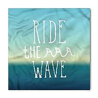 Ride The Wave Bandana, Ocean Graphic Art, Unisex Head and Neck Tie, Printed Unisex Bandana Head and Neck Tie Scarf Headband, Multicolor - S