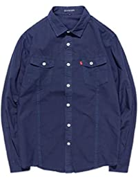 Qiangjinjiu メンズコットンスタンドカラーカジュアルロングスリーブボタンダウンシャツ