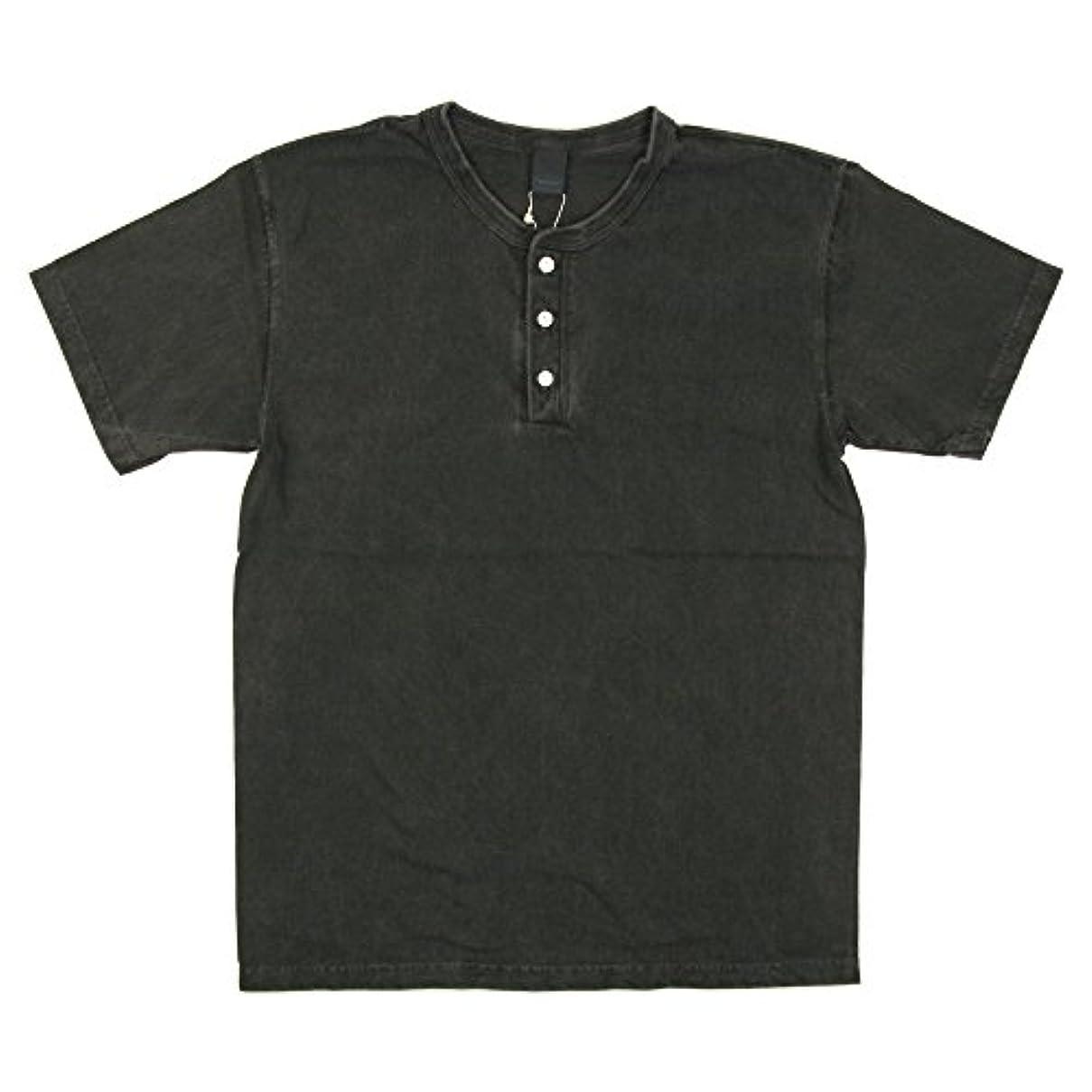 起訴するしかしながら高音(グッドオン) Good On ショートスリーブ ヘンリーネック Tシャツ カットソー 無地 メンズ レディース M P_Black GOST1102P