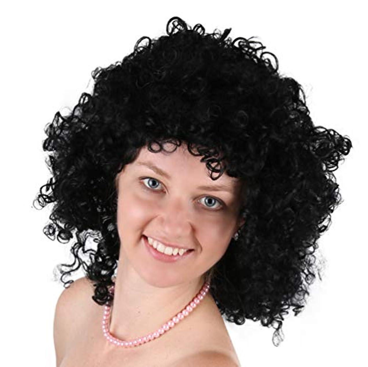 ほとんどの場合シャワーあたたかい男性ファッショナブルなかつらブラジルカーリー合成耐熱繊維髪魅力的なかつら黒45 cm