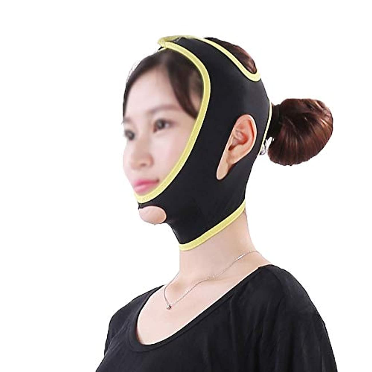 TLMY フェイス&ネックリフトシンフェイスマスクパワフルマスクフェイスリフトアーチファクトフェイスリフトフェイスツールシンフェイス包帯シンフェイスマスク美容マスク 顔用整形マスク (Size : L)