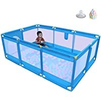 ベビーサークル, 屋外の軽量ベイビープレイプレーン、200ボールと玩具収納袋、滑り止めの幼児用の庭には庭が付いています - ブルー (サイズ さいず : 190 × 128 × 66cm)