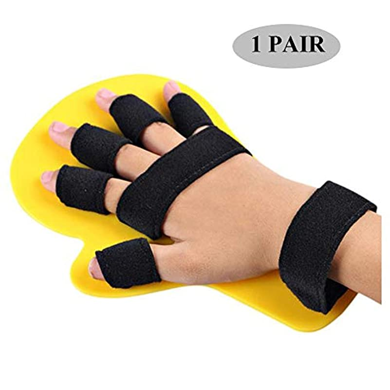 レッスン法律によりのスコア指の副木指板、指セパレーター拡張ボード、手のリハビリテーションのための手首のトレーニング装具,イエロー,1~5long1PAIR