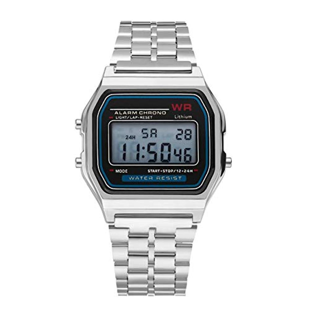 調和機動経験DeeploveUU ファッションヴィンテージLEDデジタル腕時計ステンレス鋼ストラップアラーム腕時計ドレスビジネス腕時計男性用女性