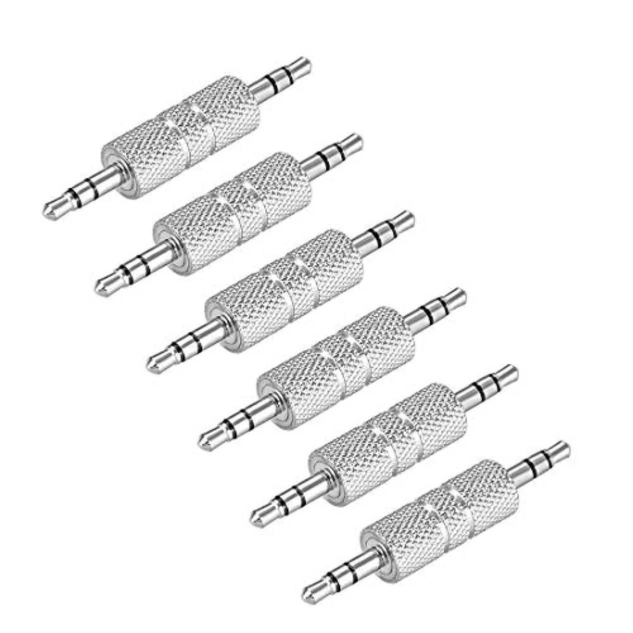 礼儀注文プロフィールuxcell 3.5mmオス-オスコネクタ ステレオオーディオビデオアダプターカプラーコンバーター シルバートーン 6個