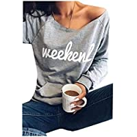 AngelSpace 女性のオフショールングスリースパーパードレタープリントシャツトップTシャツ Grey XL