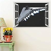 ウォールステッカーウォールペーパーウォールステッカー・壁用シール クリエイティブデザイン3Dウィンドウ - 宇宙船のリビングルームの壁紙50 * 70 CM ウォールアートリビングルームの寝室の装飾