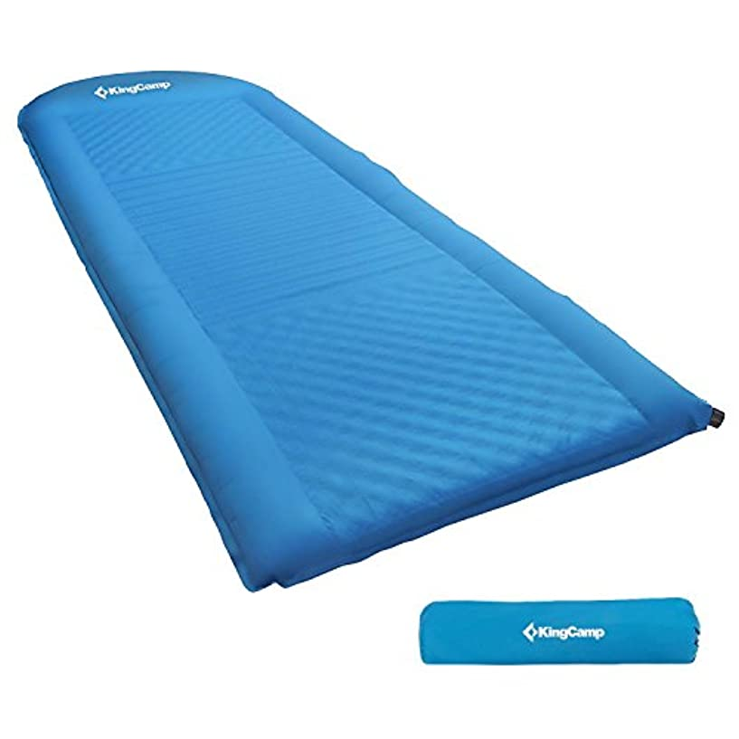 マダム純粋に力KingCamp Self Inflating Sleepingパッド軽量Foam Paddingマットベッドdamp-proof組み込みの枕キャンプハイキング、アウトドア活動
