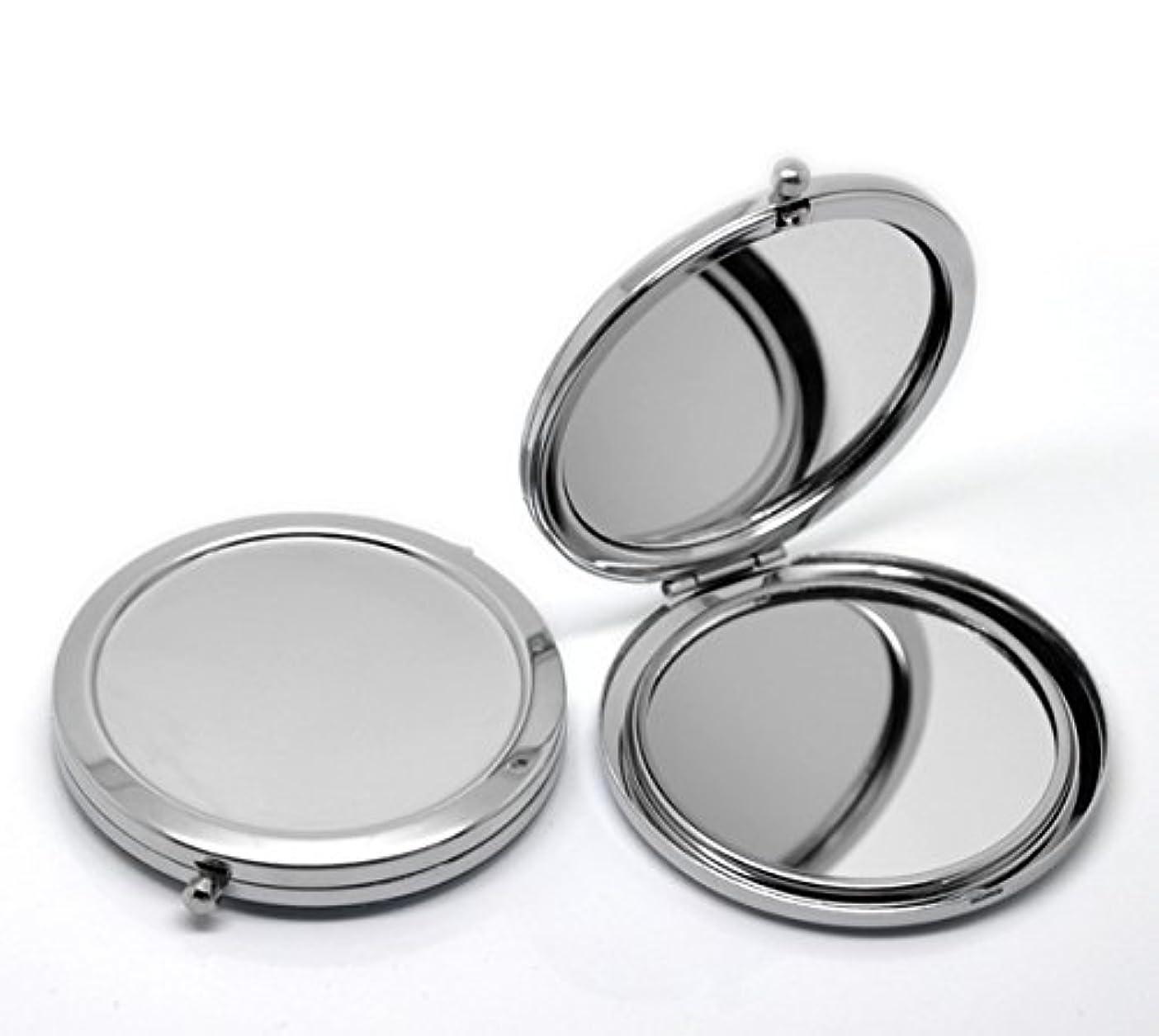 敬意オーガニックタールHOUSWEETY 無地コンパクトミラー プチ手鏡 ハンドミラー 携帯ミラー 丸型 化粧箱入り 折りたたみ おしゃれ レディース 小物 (デザインA)
