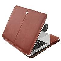 Mosiso 2018 MacBook Air 13 A1932 Retina Display / 2018 2017 2016 MacBook Pro 13 A1989/A1706/A1708用 PUレザー マックブック シェルカバー スタンド機能付き 衝撃吸収 傷つけ防止 (ブラウン)