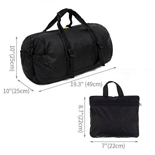 OUTRY 軽量 スポーツバッグ シューズ収納でき 乾湿分離 防水 多用途 大容量 男女兼用 運動旅行出張ジム (ブラック)