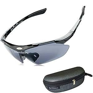 軽量 スポーツサングラス / ランニング ジョギング サイクリング ドライブ アジアンフィットノーズパッド 【WL Products】SPS022 (ブラック, フリー)