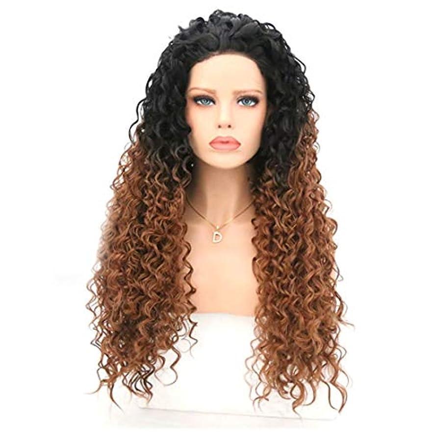 寸法葉を集めるびっくりするKerwinner 波状の巻き毛のかつら女性のための耐熱性巻き毛のかつら (Size : 20 inches)
