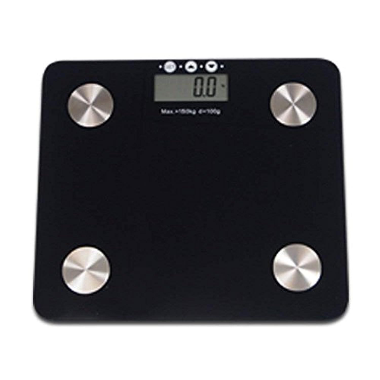 体重計 体脂肪計 内臓脂肪 スタイリッシュ ボディスケール デジタル表示 体脂肪率 体水分量 推定骨量?筋肉量 肥満度 健康管理(黒)