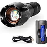 Red LED Torch White & Red Light Night Vision Flashlight Super Bright 1000 Lumen Zoomable Military XML T6 Handheld Torch Lampe w' Bonus Advanced 18650 Rechargeable Battery