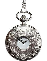 Montoreire 懐中時計 アンティーク レトロ クオーツ チェーン3種 蓋付き (シルバー)