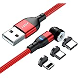 T-Easy Magnetic USB Charging Cable, Charging any USB C, Lightning and Micro-USB Devices with 1 Cable, Upgraded Nylon Braided,