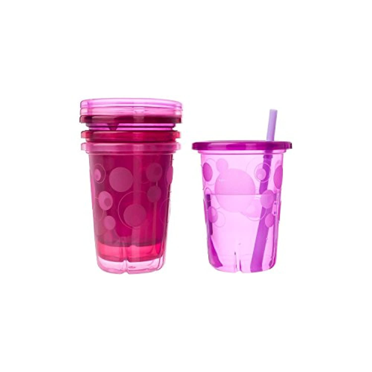 The First Years Take & Toss Spill-Proof Straw Cups - Pink Colors - 1 Set by The First Years
