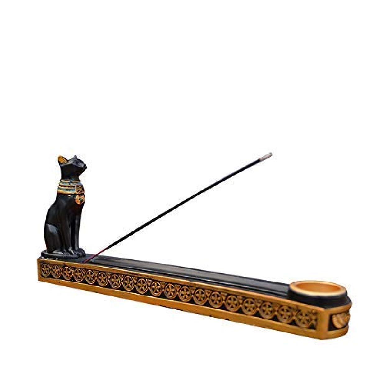 シニス鳴り響く貢献tonntyann 横置き お香立て ボックス 猫 寝かせ スティックおしゃれ 線香立て お香 古代エジプト風 バステト神 アロマ お香 横置き ヒエログリフ ネ