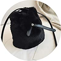 秋冬の毛深い小さな袋 女性2019新しいメッセンジャーバッグ 豪華なファッションバケツバッグ,黒色,20*19*12cm