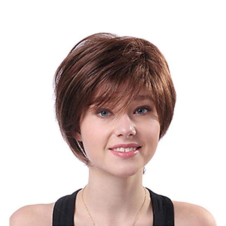 少数層テーブルYOUQIU 女性のブラウンふわふわショートカーリーヘア人工毛かつら耐熱 (色 : ブラウン)
