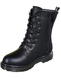 (ピピシダ)PPXID 子供編み上げ靴 子供靴 キッズブーツ レースアップファスナー付 子供ショートブーツ 裏地パイル 七五三 フォーマル靴 男女兼用 卒業式 通学 ハイカットブーツ ブラック(サイズ:16.5-24cm)