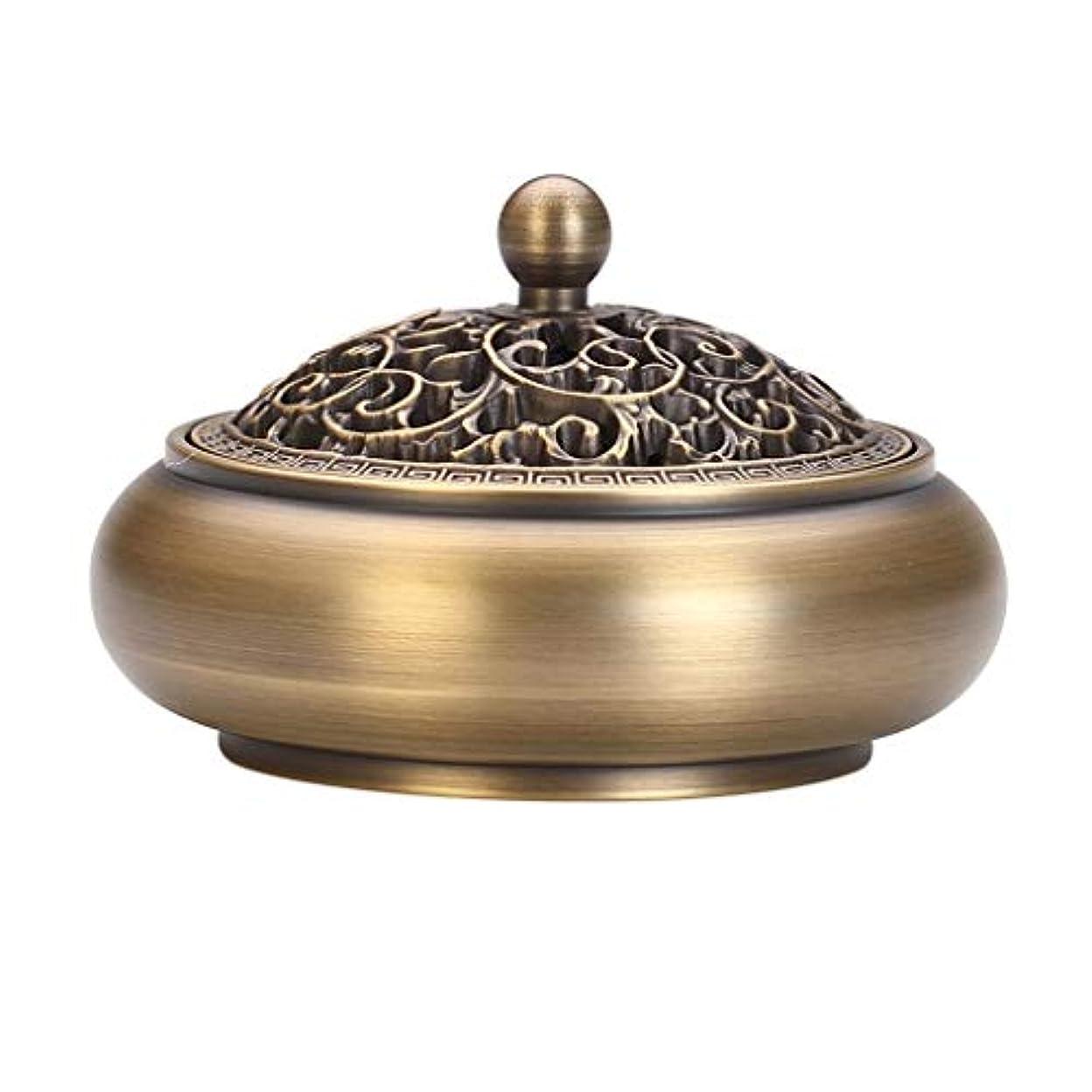 芳香器?アロマバーナー 純粋な銅香炉アンティーク家庭用浄化空気ディスク香バーナー寒天木材白檀炉 アロマバーナー (Color : Brass)