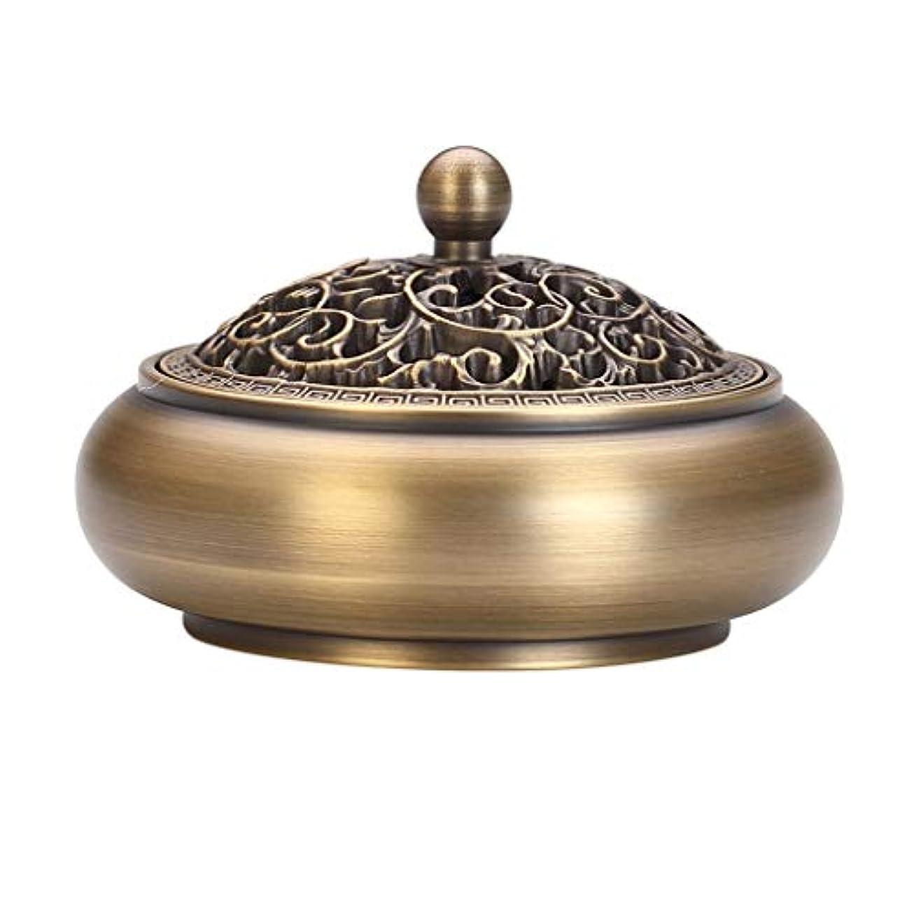 サイドボード荷物退屈な芳香器?アロマバーナー 純粋な銅香炉アンティーク家庭用浄化空気ディスク香バーナー寒天木材白檀炉 アロマバーナー (Color : Brass)